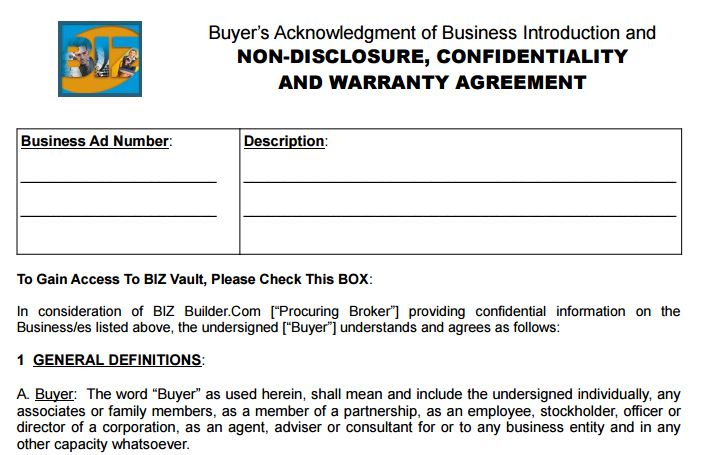 Should I Sign An Nda When Buying A Business Biz Builder Com